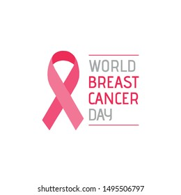 Pink ribbon. Breast cancer awareness symbol. World breast cancer day.
