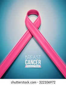 Pink ribbon, breast cancer awareness month, eps 10