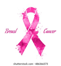 Pink ribbon, breast cancer, vector illustration