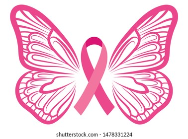 Pink ribbon with butterfly wings. Breast Cancer Awareness Ribbon. Vector illustration for breast health.