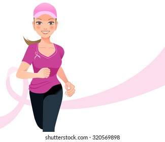 Pink ribbon concept - running woman with pink ribbon in the background