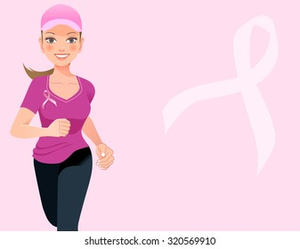 Pink ribbon concept - running woman with pink ribbon in the pink background
