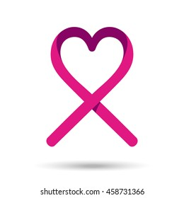 Pink ribbon with heart shape for breast cancer awareness support. EPS10 vector.