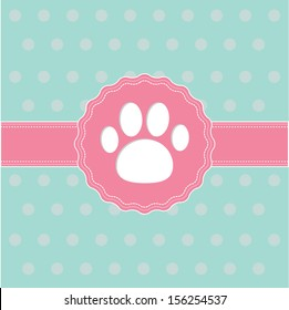 Pink ribbon and label with paw print. Card. Vector illustration.