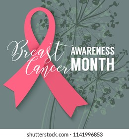 Pink Ribbon on floral background. October Breast Cancer Awareness Month Campaign. Vector design