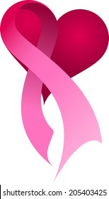 Pink ribbon on a heart.