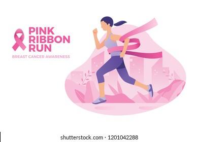 pink ribbon run breast cancer awareness month