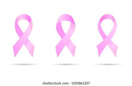 Pink ribbon. Symbol Breast cancer awareness.