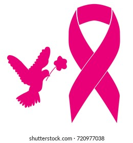Pink ribbon symbol for breast cancer awareness