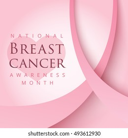Pink ribbon symbol for national breast cancer awareness month in october. Vector background design for women social and health care campaign.