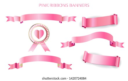 Pink Ribbons Banners Scroll Labels and Stickers Set isolated on white background. Holiday, Birthday, Wedding Day, Anniversary realistic decoration sign collection template