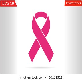 Pink ribbons isolated on white (Breast Cancer Sign). Vector illustration.