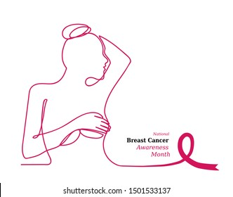Pink ribbon,womens breast outline vector illustration. One line drawing concept, poster for Pink ribbon, National Breast Cancer Awareness Month.