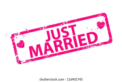 Pink romantic just married stamps
