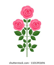 pink rose with flowers in retro style. flat vector illustration isolated on white background