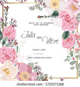 Pink rose flowers. Wedding Invitation card, save the date, thank you, rsvp card Design template. Eucalyptus leaves, garden flowers.
