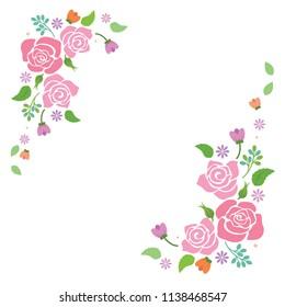 Pink rose frame for decoration on white background.