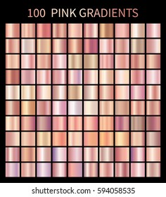 Pink rose gradients collection for fashion design. Collection of shiny rose gradient illustrations for backgrounds, cover, frame, ribbon, banner, label, flyer, card, poster etc.