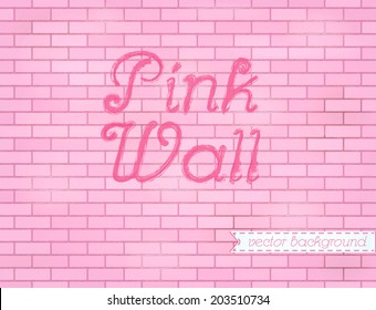 Pink rose grunge brick wall background backdrop, stock vector graphic illustration