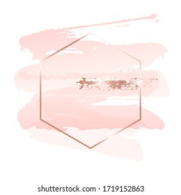Pink, rose, nude and golden brush strokes in gold hexagon frame on a white background. Vector design template for banner, card, cover, web, flyer, poster.