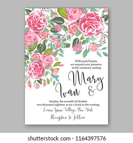Pink rose peony Floral wedding invitation or greeting card Wreath of flower for marriage baby shower bridal shower invitation, party celebration vector printable template watercolor background