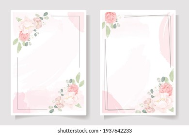 pink rose and peony flower bouquet wreath with frame on pink watercolor splash background wedding invitation or birthday greeting card template collection