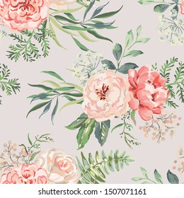 Pink rose, peony flowers with green leaves bouquets background. Floral illustration. Vector seamless pattern. Botanical design. Nature summer plants. Romantic wedding
