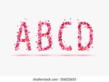 Pink rose petals alphabet.  Part 1 Letters A, B, C, D.