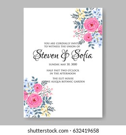 Pink rose wedding invitation vector template