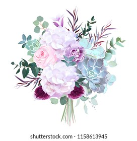 Pink rose, white hydrangea, purple carnation, dark orchid, succulents, violet bellflower, eucalyptus, greenery vector design bouquet.Winter wedding flowers.Watercolor style. All elements are isolated