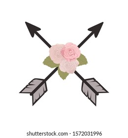 pink roses and crossed arrows, vector
