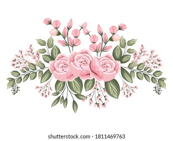 pink roses flowers with buds and leaves painting design, natural floral nature plant ornament garden decoration and botany theme Vector illustration
