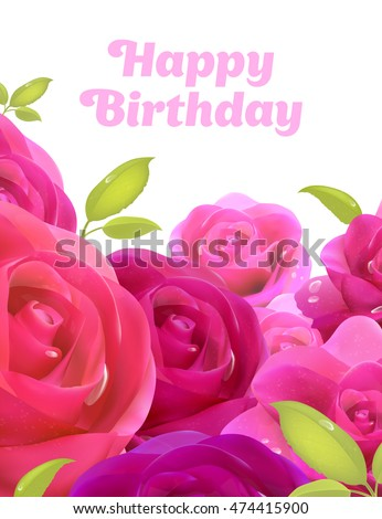 Happy Birthday Greeting Card A With Flowers Bouquet Of