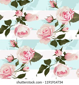 Pink roses on a mint green stripes vector seamless pattern Flowered background of botany illustration