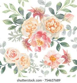 Pink roses and peonies with gray leaves on the white background. Vector seamless pattern. Romantic garden flowers illustration. Delicate colors.