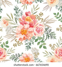Pink roses and peonies with khaki green leaves on the white background. Watercolor vector seamless pattern. Romantic garden flowers.