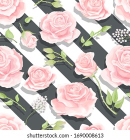 Pink roses seamless vector pattern with brushed stripes background. Texture for vintage decoration, bedding fabric, textile, dress cloth or linen