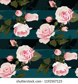Pink roses vector seamles pattern. Realistic flowers on stripes background, floral texture