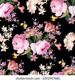 Pink roses vintage seamless pattern on a black background
