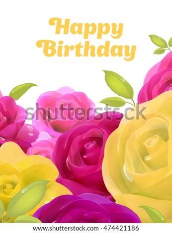 Pink Roses Yellow Flowers Happy Birthday Stock Vector Royalty Free