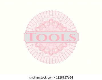 Pink rosette. Linear Illustration with text Tools inside