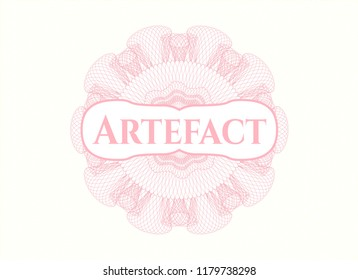 Pink rosette. Linear Illustration with text Artefact inside
