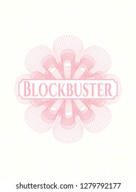 Pink rosette or money style emblem with text Blockbuster inside