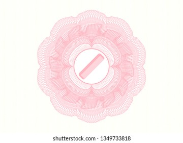 Pink rosette (money style emblem) with hair comb icon inside