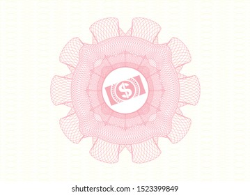 Pink rosette or money style emblem with money, dollar bill icon inside