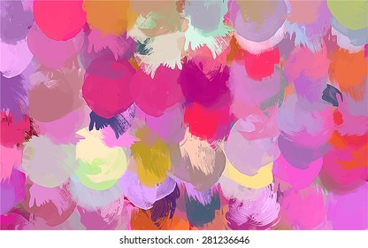 Pink round brush strokes background. Vector version
