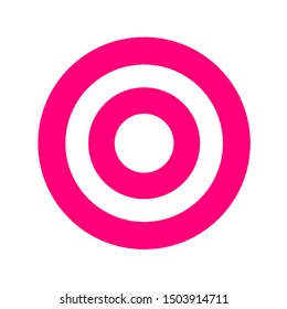 pink round symbol isolated on white, circle icon pink for shooting target arrow aiming, target for sport game shooting arrow aim, circle point focus of success idea, target sign of business goal ideas