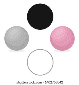 Pink rubber bouncy ball for exercises . Fitball for fitness.Gym And Workout single icon in cartoon,black style vector symbol stock illustration.