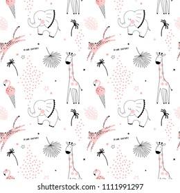 pink safari animals pattern