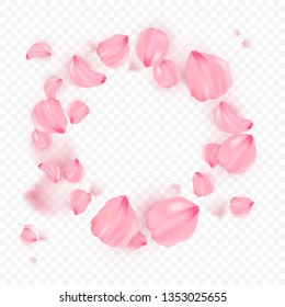 Pink sakura falling petals in circle vector background. 3D romantic illustration. Transporent banner with sakura. Love card